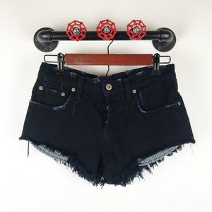 LF Carmar black distressed button fly jean shorts